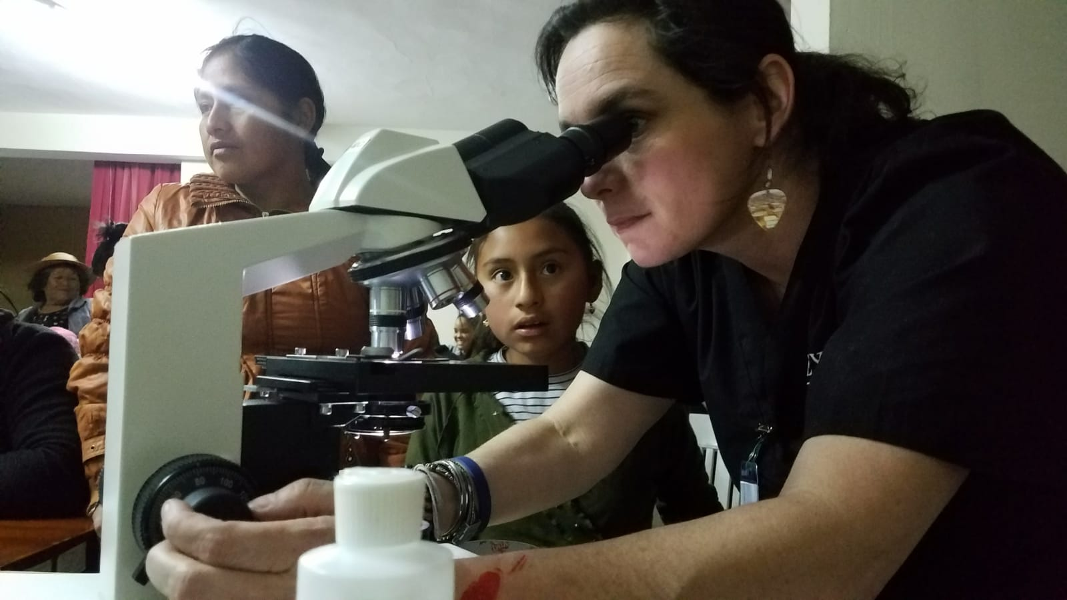 Professor Ellis at the microscope